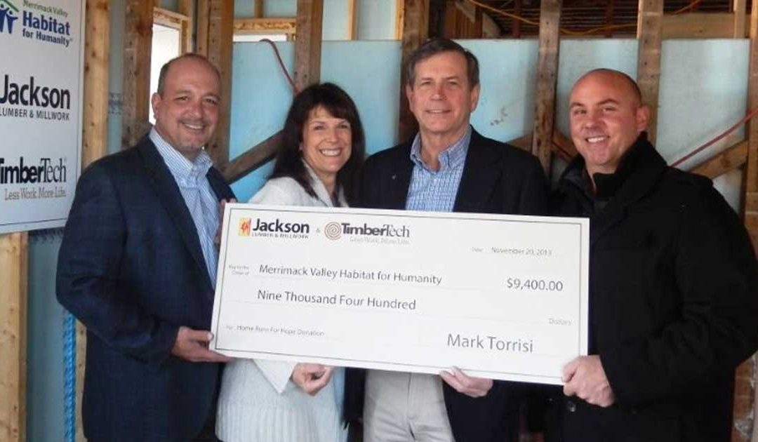 "Jackson Lumber & Millwork partners with TimberTech to donate $9,400 to Merrimack Valley Habitat for Humanity in ""Home Runs for Hope"" charitable program"